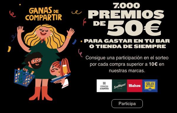 700 premios de 50€ para gastar en tu bar o tienda de siempre